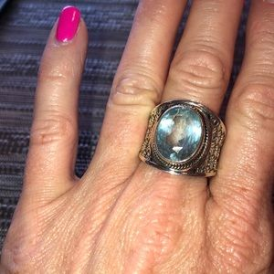 Bold sterling silver and aquamarine ring
